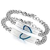 Flongo 2 PCS Real Love Herz Edelstahl Armband Link Handgelenk Silber Blau Panzerkette Kette Herren,Damen