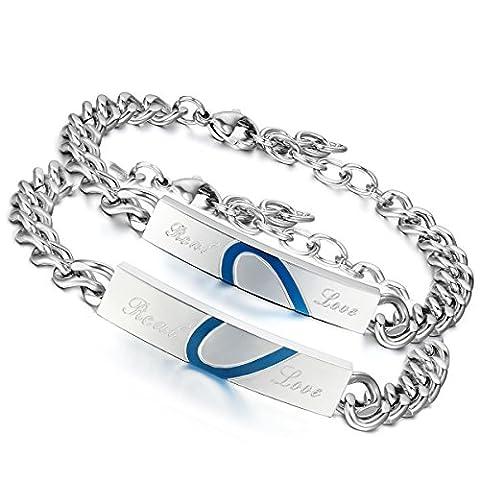Flongo 2pcs Bracelet Acier Inoxydable Gourmette Coeur Real love Couple Amour Classique Couleur Argent Bleu Fantaisie Bijoux Cadeaux pour Femme
