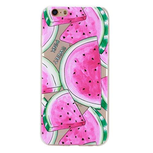iPhone 6 Hülle, iPhone 6S Hülle, Gift_Source [ Mandala ] Hülle Case Transparent Weiche Silikon Schutzhülle Handyhülle Schutzhülle Durchsichtig TPU Crystal Clear Case Backcover Bumper Case für iPhone 6 E1-Wassermelone