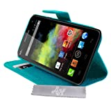 Etui Housse Luxe Turquoise Stand & Portefeuille Wiko Rainbow et Rainbow 4G + STYLET et 3 FILM OFFERT !!