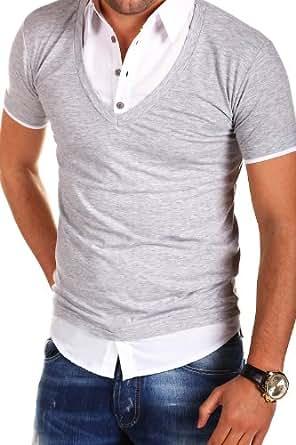 MT Styles - BS-515 - T-shirt polo 2 en 1 avec empiècement effet chemise - Gris - XXL