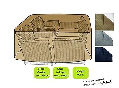 HomeStore Global Schutzhülle für mittlerer Größe Rattan Gartenmöbell / Cube mit runder Ecke Abdeckung in der Farbe Braun - Dicke und langlebig hochwertige 600D Polyester Segeltuch, All-wetterfest und gegen Feuchtigkeit
