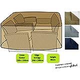 HomeStore Global Funda para mediano ratán muebles conjunto  - Gruesa y de alta calidad durable 600D poliéster de la lona con costuras cosidas doble para la fuerza adicional, resistente a la humedad