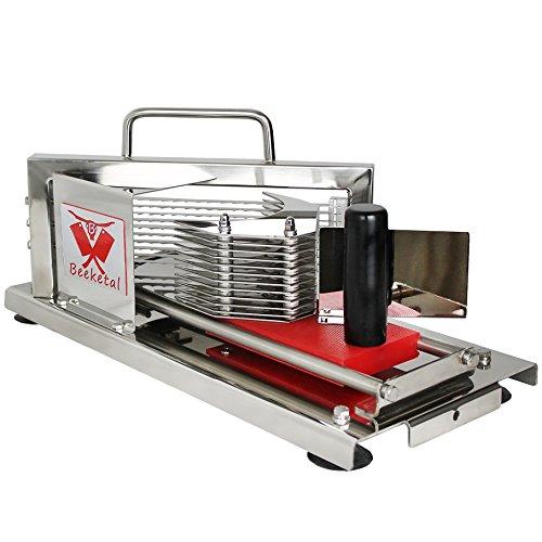 Beeketal 'BTS4' Profi Gastro Tomatenschneider mit Schlittensystem und extrem scharfen Edelstahl Wellenschliffmessern für 4 mm dicke Scheiben