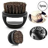 1pc hommes Blaireau portable en plastique salon de coiffure Barbe Brosses Salon Nettoyage du visage de rasoir Brosse (noir)