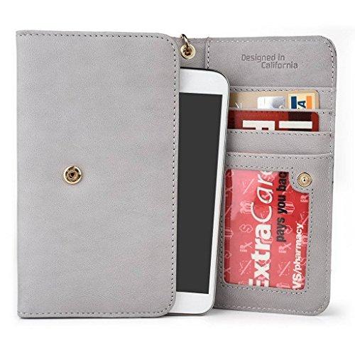Kroo Pochette en cuir véritable pour téléphone portable pour épices Smart Flo 508(mi-508) noir - noir Gris - Gris