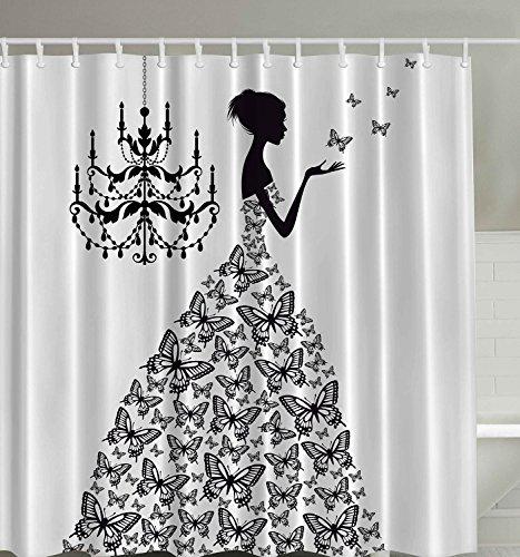 ezon-ch Wasserdicht Moderne gut Mehltau Widerstand Butterfly Fairy Queen Polyester-Gewebe Bad Duschvorhang, schwarz, - Fairy Queen Kostüm