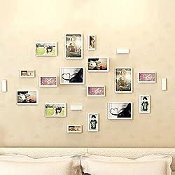Yazi DIY 3D Bilderrahmen Set von 10Holz Wand Aufkleber Familie Bild Collection Rechteck weiß
