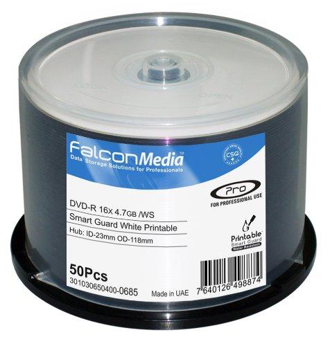 falconmedia 11151348weiß Inkjet DVD-R, 16x, 4,7GB, hub-printable, wasserabweisend–50Stück