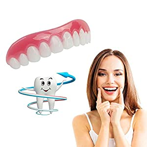 Cosmetic Teeth Instant Smile Zähne, Secure Comfort Fit Weich Cosmetic Veneer Zähne, natürliche Männer Frauen Upper & Top Veneer Zähne-One Size für die meisten