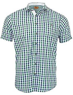 Maddox Herren Kurzarm Trachtenhemd Lars - Blau Grün Kariert - Slimfit mit Karomuster zur Lederhose Jeans