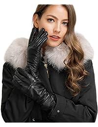 Acdyion Damen Winter Handschuhe Echtleder Touchscreen Warm Elegant Kaschmirfutter Kaschmir Lederhandschuhe, Echtes Leder wasserdicht, winddicht