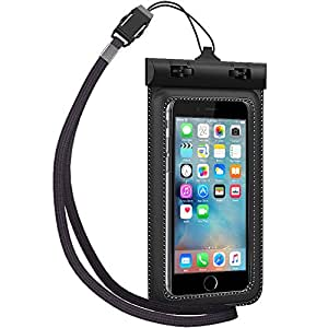 Ultraproof Waterproof Case for Apple iPhone 6 5S 5C 5, Samsung Galaxy S5 S4 - [Black] Universal UltraBag Waterproof Pouch with Touch Responsive Front and Back Transparent Screen Protector Windows[One Year Warranty] fits any version of Apple iPhone Air 4S 4 3, iPod Touch; Samsung Galaxy Note 3 2; LG Optimus G2, G2 Mini, G Pro; All New HTC One M8,M7,M4,Mini,X/X+;Google Nexus 5 4;Droid DNA;MP3 Player(A.K.A IPX8 Certified Protective Smartphone Waterproof Life Pouch / Credit Card Waterproof Bag Case)