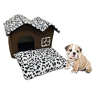 LA VIE Doppelt Haustier Haus Gemütlich Plüsch Haustier Zwinger Hundehöhle Katzenbett Korb mit Abnehmbares Schlafplätze Kissen für Hunde Katzen Welpen Kleines Haustier 52x40x42 CM