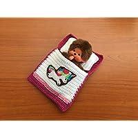 Puppenbettchen - Schlafsack für Monchichi 20 cm oder kleine Puppen Süßes Einhorn