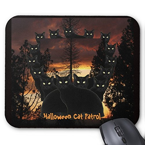 Hallo Herr Pad Halloween Black Cat Patrol Mauspad