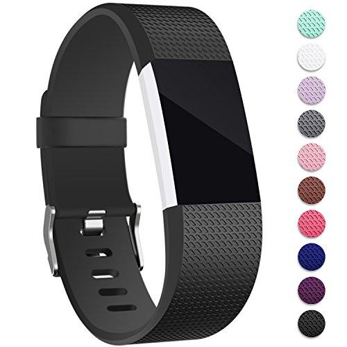 Mornex Für Fitbit Charge 2 Armband, Original Ersatzarmband Sport Fitness Watch Band für Fitbit Charge 2 Armband, Schwarz, Large (Temperaturen Führen Hohe)