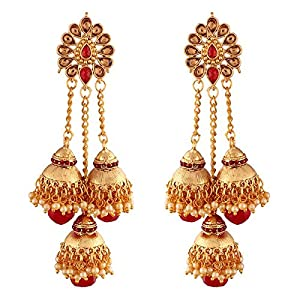 I Jewels Gold Plated Pearl Jhumki Earrings for Women (E2607R)