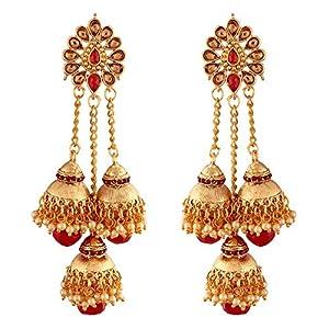I Jewels Gold Plated Pearl Jhumki Earrings for Women (E2607R)