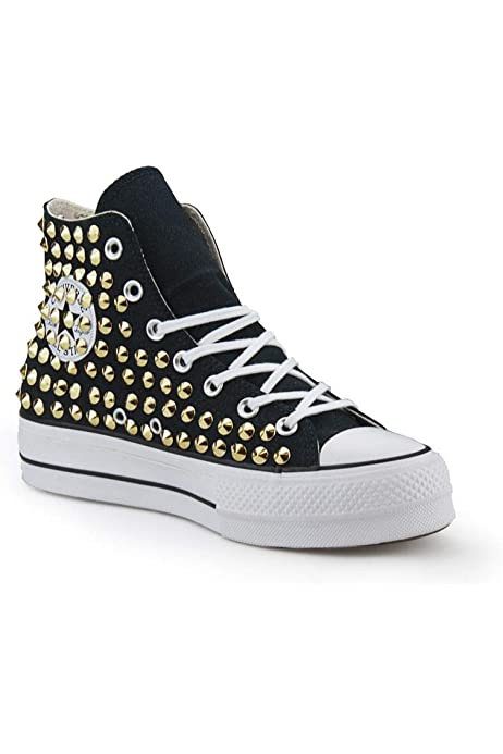 Scarpe platform allstars Converse personalizzate borchiate nera sneakers (artigianali) con borchie cono oro