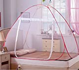 #2: Classic Mosquito Net Foldable King Size,Queen Size Double Bed With Saviours - (Red)