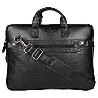 "OMAX 16"" Sturdy Strong Stylish Black Brown PU Leather Expandable Laptop Briefcase Sleeve Computer Office Work Bag for Men with wide Shoulder Crossbody Strap (Black)"