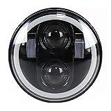 PPSAERTE® 5 3/4 '' Harley Davidson Daymaker faro principale da 5,75 pollici con luce bianca DRL RGB Halo Bluetooth Modalità musicale 40W H / L fascio nero / argento , Black