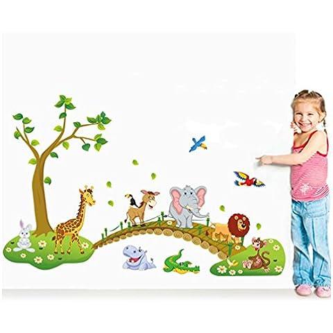 GenialES Dibujo Animales Bosque Pegatina de Pared DIY Vinilo Decorativo Adhesivo PVC para Dormitorio para Niños Bebé