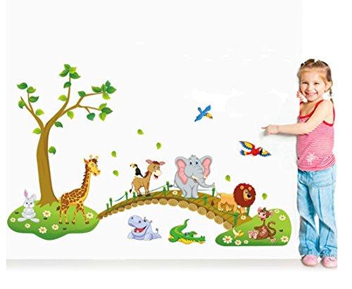 GenialES Dibujo Animales Bosque Pegatina de Pared DIY Vinilo Decorativo Adhesivo PVC para Dormitorio para Niños Bebé 60*90cm