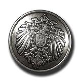 (f083as) - 8er Set historische Uniformknöpfe / Metallknöpfe mit Motiv: Reichsadler, leicht gewölbt, altsilber, Vintage-Look. Durchmesser: ca. 23mm