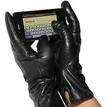 Winterfinger ® elegantes-Guantes de piel para pantalla táctil de smartphones y tablets, 100% cuero de napa para