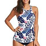 iYmitz Frauen Badeanzug Sommer Zweiteiler Plus Größe Rückenfrei Halter Blumen Damen Drucken Swimwear Sets Bademode(Blau,EU-38/CN-XL)