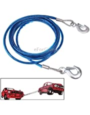eForChina 5 Tons Steel Vehicle Towing Cable Rope (4m, Multicolour)