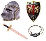 Kleines Ritterset, Ritterhelm Krieger, Ritterschild Löwe, Ritterschwert Löwenherz, Schwerthalter aus Hanfseil