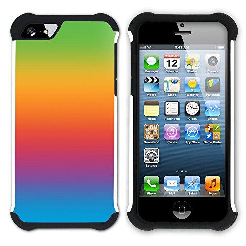 Graphic4You Regenbogen Farben Hart + Weiche Kratzfeste Hülle Case Schale Tasche Schutzhülle für Apple iPhone SE / 5 / 5S Design #35