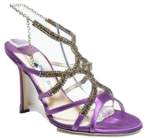 Jimmy Choo Music - Sandalias de vestir para mujer púrpura Purple Satin & Golden Beads 37 (4.5 UK)