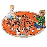 Borsa Per Giocattoli, BELLESTYLE Tela di Cotone 150 cm Tappetino da Gioco per bambini Organizzatore di giocattoli Borsa rapida per Memorizzazione di Giocattoli di Piccole e Medie Dimensioni - Arancia