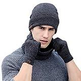 Aibrou Unisex Winter 3 in 1 One-Size Herren und Damen Strickmütze, Schal und Handschuhe Set, Warmes thermisches Set mit Fleecefütter, Marineblau