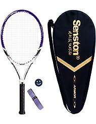 Senston Alluminio Racchetta da tennis , inclusa borsa da tennis, overgrip da 1 pezzo e 1 ammortizzatore (colore casuale)