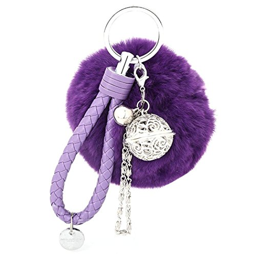 ch Ball Schlüsselanhänger Weich Keychain Handtaschenanhänger Dekor (lila) ()