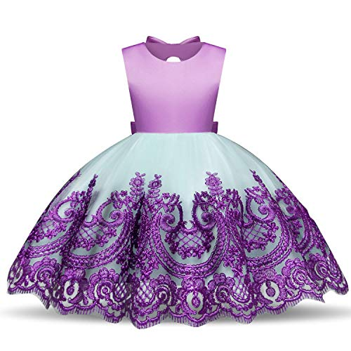 TTYAOVO Kleinkind Baby Mädchen Zurück Bogen Gestickte Blume Prinzessin Hochzeit Tutu Kleidergröße (90) 13-24 Monate (Lila Kleinkind Kleid Prinzessin)