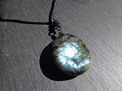 Pendentif pierre naturelle labradorite avec collier cordon, longueur réglable entre 50cm et 80cm, pièce unique