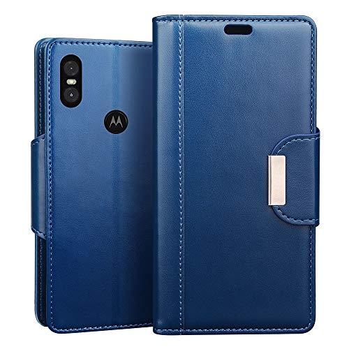 RIFFUE Motorola One Hülle, Handyhülle Motorola One, Retro PU Leder Flip Case Brieftasche mit Magnetverschluss, Standfunktion, Ultra Weiche Klapphülle für Motorola One (5,9 Zoll) - Blau (Phone Case Motorola Ultra)