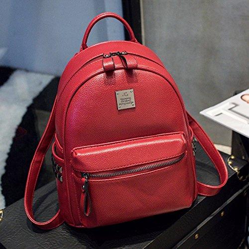 pu - mini - backpack tasche nieten,weiße rotwein