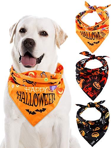 3 Piezas Bufanda de Triángulo de Perro de Halloween Bandanas de Mascotas...