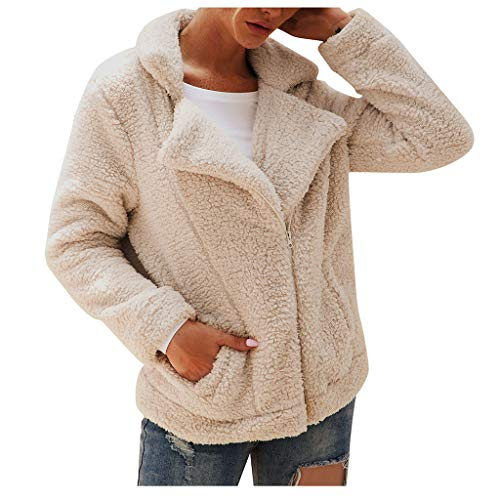 Kostüm Türkei Fleece - SHUBIHU Tops Womens Revers Zip Up Kunstpelz Shearling Fuzzy Fleece Jacke Teddybär Mantel Warm (Beige, XL)