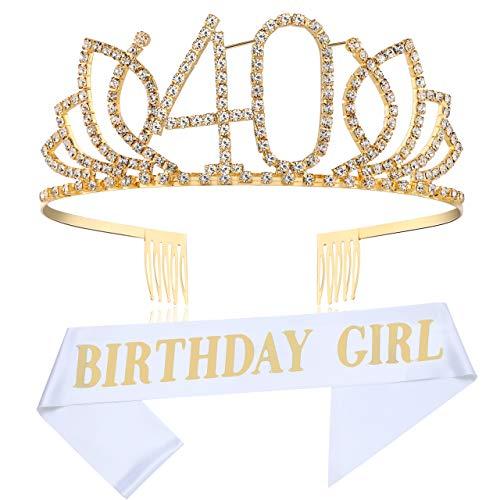 Coucoland Geburtstag Krone mit Geburtstag Schärpe Satin Birthday Crown and Sash Set Geburtstagsdeko Geschenk für Damen 18/21/30/40/50 Geburtstag Party Accessoires (Gold - 40 Jahre alt)