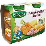 Bledina Pots Sales Purée Carottes Jambon 2X200G 6 mois - ( Prix Unitaire ) - Envoi Rapide Et Soignée