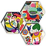 SAF Set of 3 Hexagon Kid's Room Decor Modern Art 6MM MDF UV Textured Home Decorative Gift Item 21 inch x 21 inch…