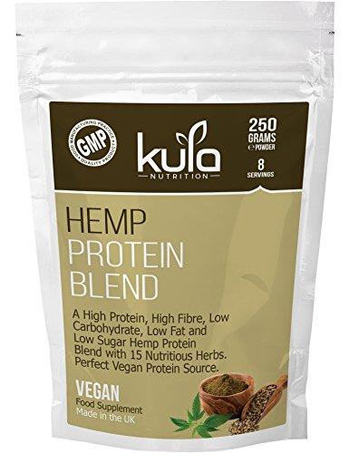 Hanf Protein Pulver Mischung - 250 Gramm - Molkerei & Glutenfrei - 10 Portionen - Hohe Faser, fettarm, wenig Zucker mit 15 weiteren Inhaltsstoffen und mit Stevia - vegetarische & vegane Proteinquelle.
